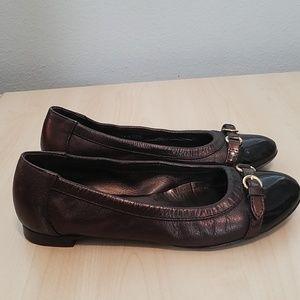 Agl Shoes - AGL bronze/dark brown captoe buckle shoes 6.5/36.5